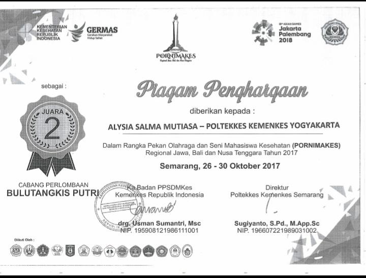 ALYSIA SALMA MUTIASA_JUARA 2 Bulu Tangkis Putri Pornimakes Regional Jawa Bali Nusa Tenggara 2017
