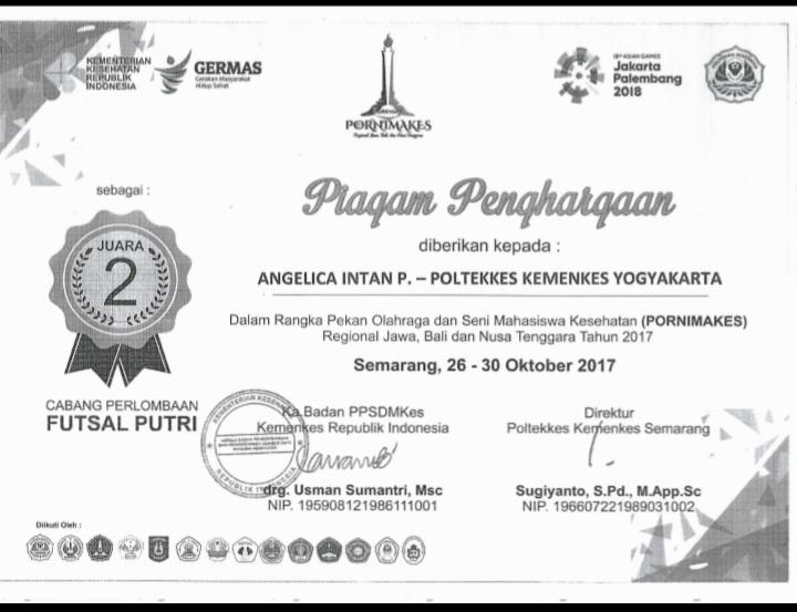 ANGELICA INTAN P_JUARA 2 Pekan Olahraga dan Seni Mahasiswa Kesehatan (PORNIMAKES) Regional Jawa, Bali dan Nusa Tenggara Tahun 2017