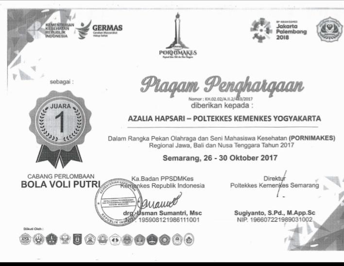 AZALIA HAPSARI_JUARA 1 Pekan Olahraga dan Seni Mahasiswa Kesehatan (PORNIMAKES) Regional Jawa, Bali dan Nusa Tenggara Tahun 2017