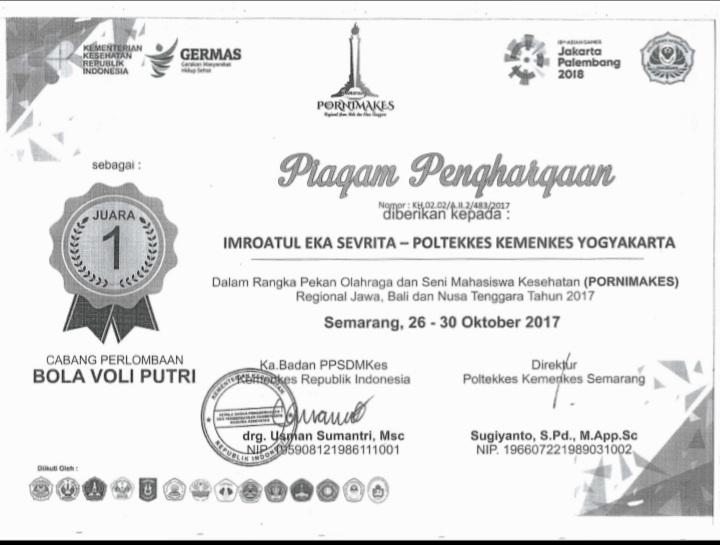IMROATUL EKA SEVRITA_JUARA 1 Pekan Olahraga dan Seni Mahasiswa Kesehatan (PORNIMAKES) Regional Jawa, Bali dan Nusa Tenggara Tahun 2017