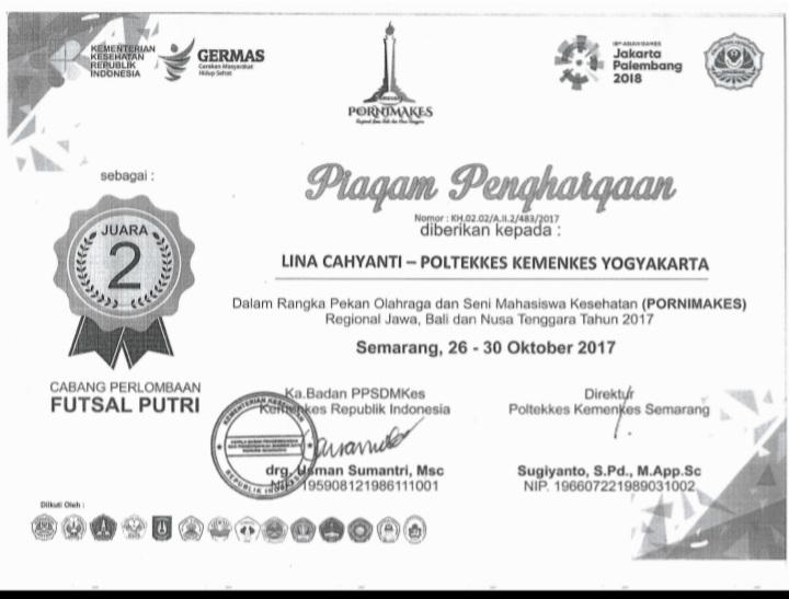 LINA CAHYANTI_JUARA 2 Pekan Olahraga dan Seni Mahasiswa Kesehatan (PORNIMAKES) Regional Jawa, Bali dan Nusa Tenggara Tahun 2017
