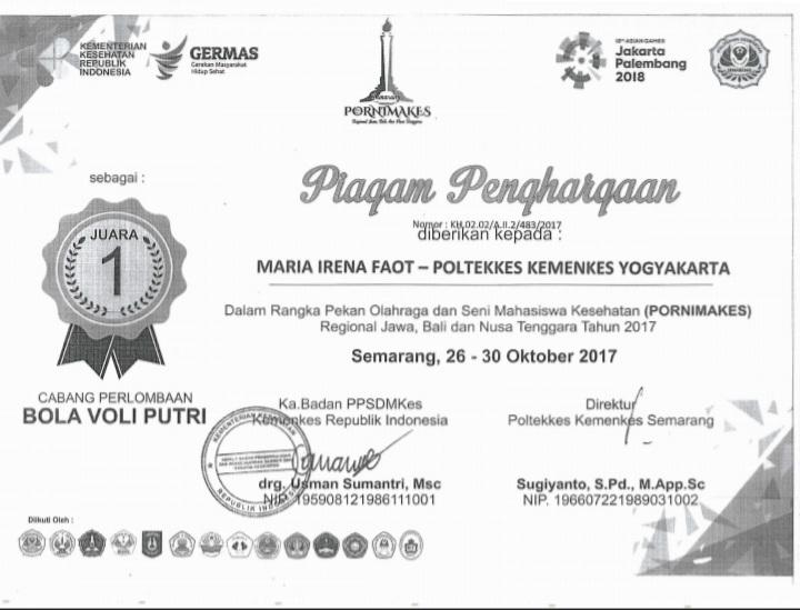 MARIA IRENA FAOT_JUARA 1 Lomba Bola voli putri dalam rangka Pekan Olah Raga dan Seni Mahasiswa Kesehatan (Pornimakes) Jawa Bali Nusa Tenggara