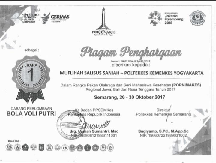 MUFLIHAH SALINUS SANIAH_JUARA 1 volly Putri Pornimakes Regional Jawa Bali Nusa Tenggara 2017