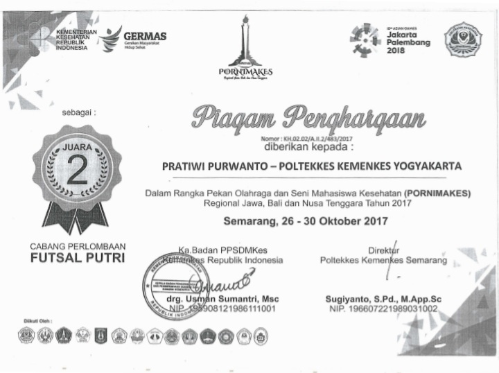 PRATIWI PURWANTO_JUARA 2 Pornimakes Jabanus Futsal Putri