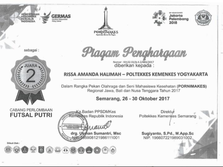 RISSA AMANDA HALIMAH_JUARA 2 Futsal putri Pornimakes Regional Jawa Bali Nusa Tenggara 2017