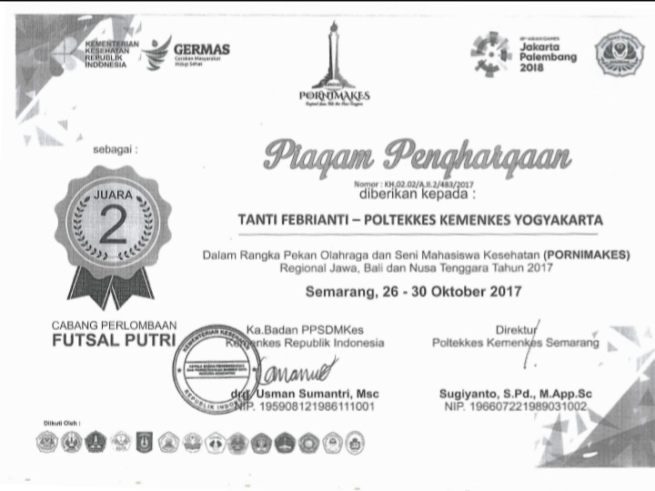 TANTI FEBRIANTI_JUARA 2 Futsal Putri Pekan Olahraga dan Seni Mahasiswa Kesehatan (PORNIMAKES) Regional Jawa, Bali dan Nusa Tenggara Tahun 2017