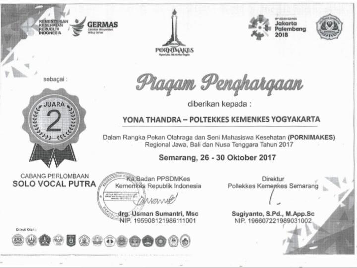 YONA THANDRA_JUARA 2 Solo Vocal Putra Pekan Olah Raga Seni Mahasiswa Kesehatan se Jawa Bali Nusa Tenggara (PORNIMAKES JABANUS)